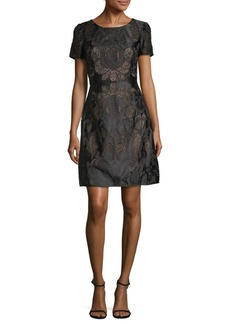 Marchesa Rose Embroidered Lace Fit-and-Flare Dress