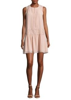 Marchesa Rose Lace Panel Slip-On Dress