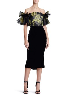 Marchesa Ruffle Off the Shoulder Mixed Media Dress