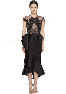 Marchesa Ruffled Peplum Skirt w/ Beaded Black Horse Bodice