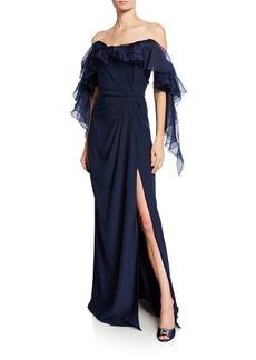 Marchesa Satin-Back Crepe Off-the-Shoulder Gown