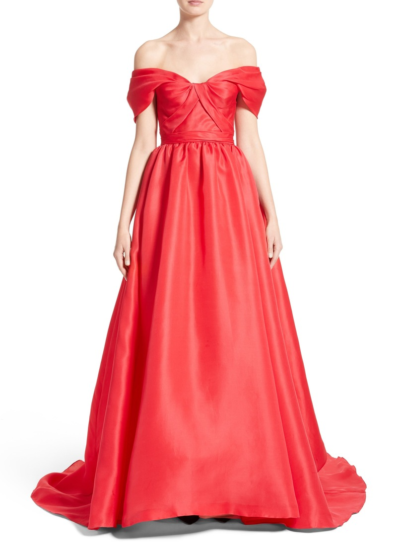 637c8f668720 Marchesa Marchesa Silk Gazar Sculpted Off the Shoulder Gown | Dresses