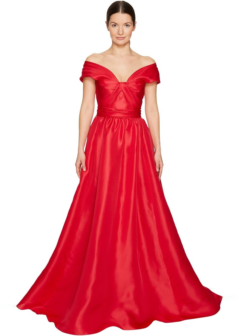 SALE! Marchesa Marchesa Silk Off Shoulder Sculptural Ball Gown