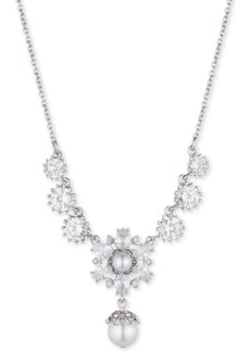 """Marchesa Silver-Tone Crystal & Imitation Pearl 19"""" Lariat Necklace, Created for Macy's"""