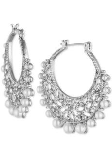 Marchesa Silver-Tone Crystal & Imitation Pearl Filigree Medium Medium Hoop Earrings