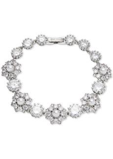 Marchesa Silver-Tone Crystal & Imitation Pearl Flex Bracelet, Created for Macy's