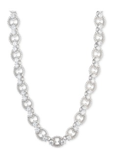 """Marchesa Silver-Tone Cubic Zirconia Link Collar Necklace, 16"""" + 3"""" extender, Created for Macy's"""