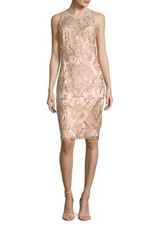 Marchesa Notte Sleeveless Embroidered Dress