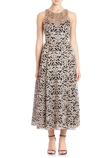 Marchesa Sleeveless Embroidered Tea-Length Gown