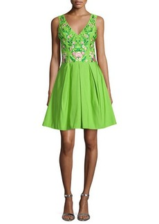 Marchesa Sleeveless Floral-Embroidered Party Dress