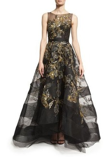 Marchesa Sleeveless Hand-Embroidered Illusion Gown & Capelet