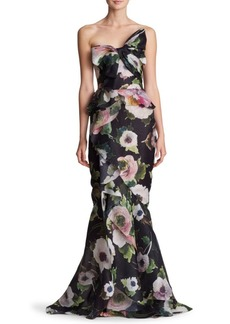 Marchesa Strapless Bow Floral Silk Gown