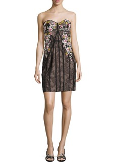 Marchesa Strapless Floral-Embroidered Lace Corseted Dress