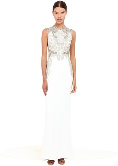 Marchesa Stretch Crepe Fitted A-Line Gown with Gold Beaded Appliques Cut Out Details and Train