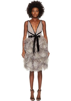 Marchesa Tulle Cocktail Dress w/ Degrade Floral Skirt