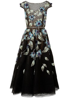 Marchesa Woman Feather-trimmed Embellished Tulle And Lace Gown Black