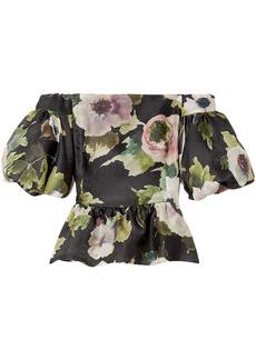 Marchesa Woman Off-the-shoulder Floral-print Silk-moire Peplum Blouse Black