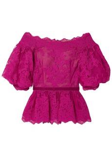 Marchesa Woman Off-the-shoulder Velvet-trimmed Corded Lace Peplum Top Fuchsia