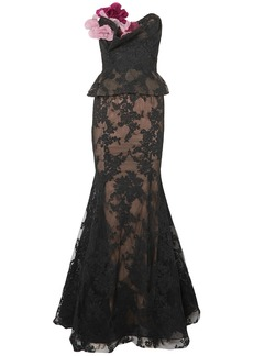 Marchesa Woman Strapless Appliquéd Corded Lace And Tulle Peplum Gown Black