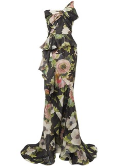 Marchesa Woman Strapless Bow-embellished Floral-print Silk-moire Gown Black