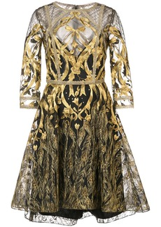 Marchesa mesh overlay metallic embroidered dress