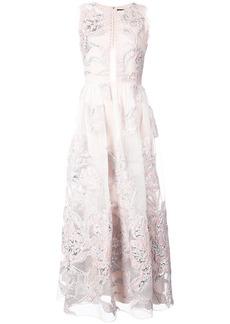 Marchesa metallic floral jacquard dress