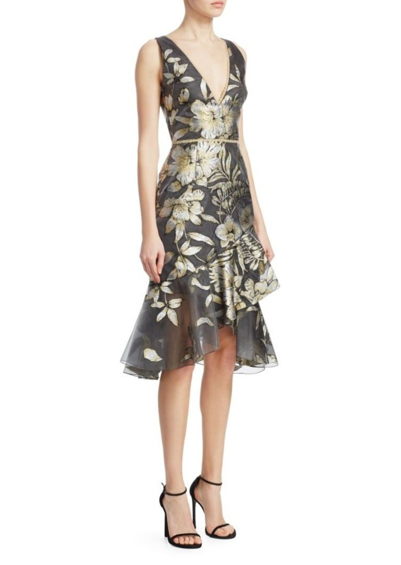 Marchesa Metallic Floral-Print Asymmetrical Flounce Dress