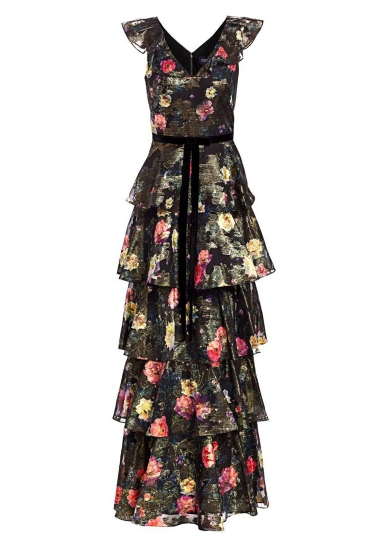 Marchesa Metallic Floral Printed Tiered A-Line Gown