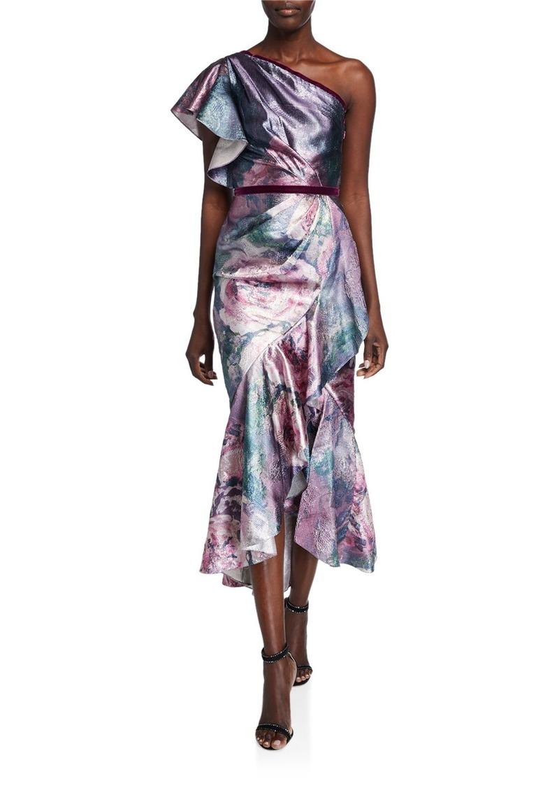 Marchesa Metallic Jacquard One-Shoulder Tea Length Dress w/ Ruffle Detailing