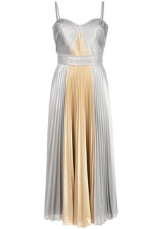 Marchesa metallic pleated long dress