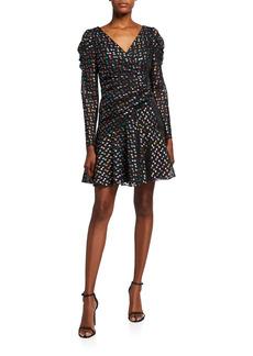 Marchesa Metallic Polka Dot Puff-Sleeve Dress