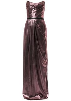 Marchesa metalzied strapless gown