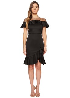 Marchesa Neoprene Cocktail w/ Point-D'Esprit Hoke and Ruffles