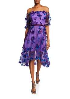 Marchesa Off-the-Shoulder Blouson-Sleeve Tulle Dress w/ 3D Flowers