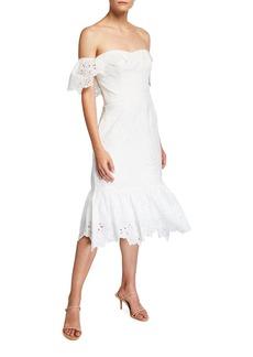 Marchesa Off-the-Shoulder Chandelier Eyelet Ruffle Dress
