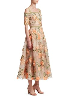 Marchesa Off-the-Shoulder Embroidered Floral Gown