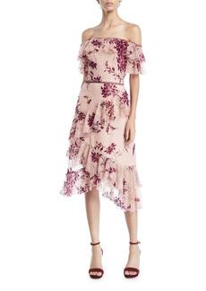 Marchesa Off-the-Shoulder Flocked Lace & Ruffle Trim Dress