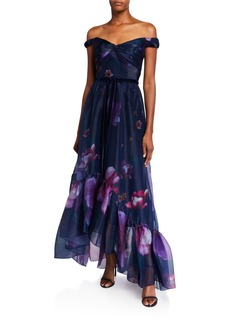 Marchesa Off-the-Shoulder Floral Organza High-Low Draped-Bodice Gown