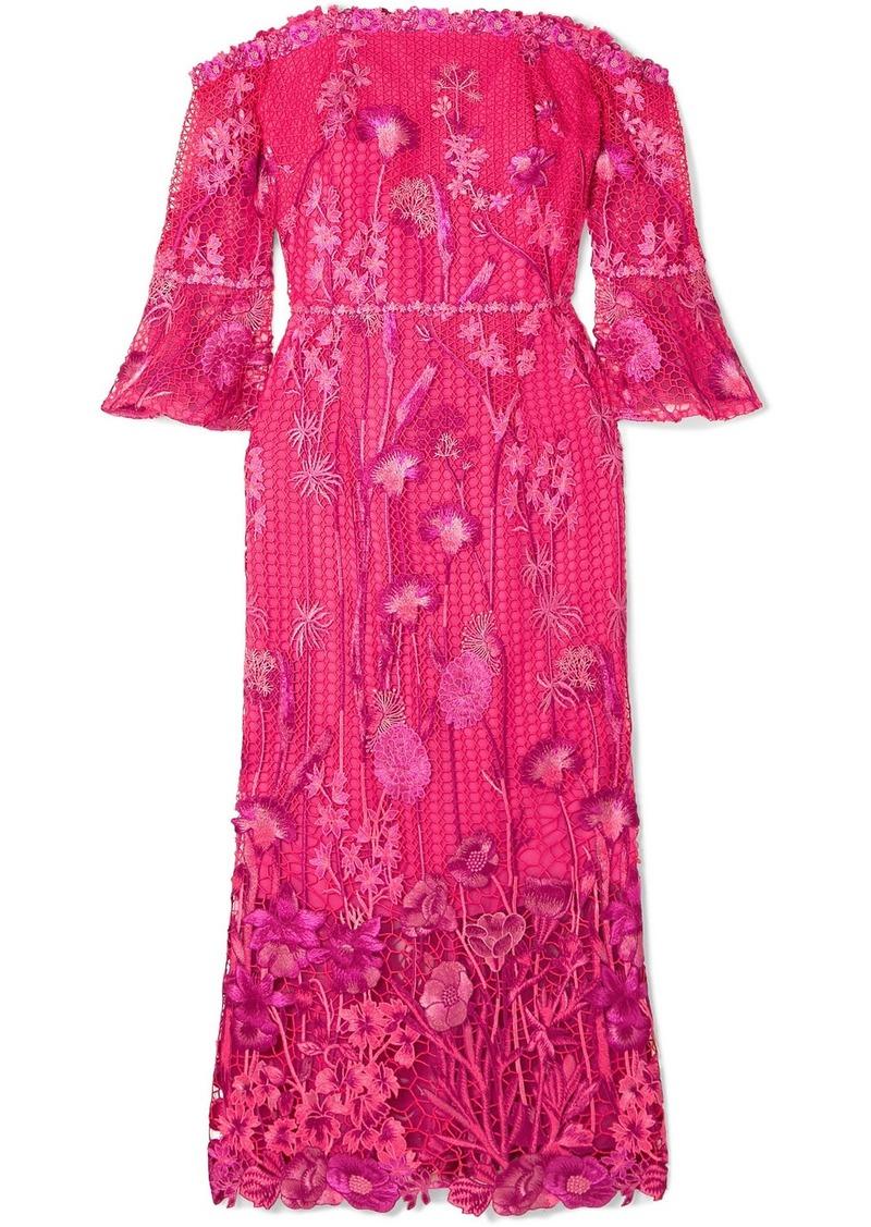 Marchesa Off-the-shoulder Guipure Lace Dress