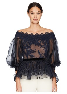 464a75860d281 Marchesa Off the Shoulder Lace Fit and Flare Blouse w  Statemented Bow  Sleeves