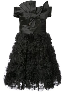 Marchesa off the shoulder ruffled mini dress