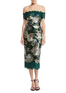 Marchesa Off-the-Shoulder Sequined Peony Cocktail Dress with Guipure Lace Trim