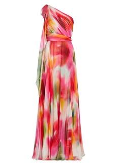 Marchesa One-Shoulder Chiffon Pleated Gown