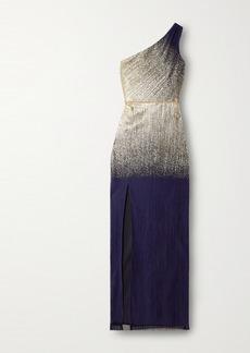 Marchesa One-shoulder Metallic Printed Plissé-tulle Gown
