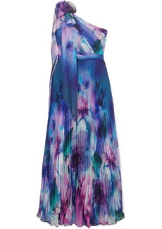 Marchesa One-shoulder Pleated Printed Chiffon Gown