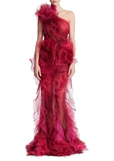 Marchesa One-Shoulder Ruffled Silk Organza Tulle Evening Gown w/ Floral Detail