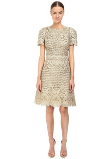 Marchesa Ornate Laser-Cut and Threadwork Brocade Cocktail with Cap Sleeves