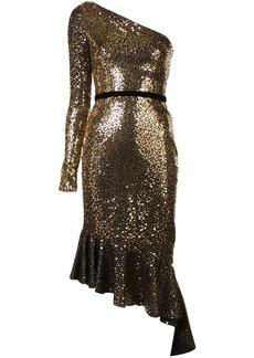 Marchesa sequinned ruffle asymmetric dress