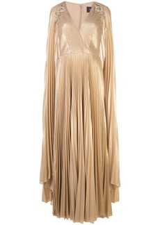 Marchesa pleated cape detail kaftan gown