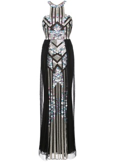 Marchesa pleated sequined column gown
